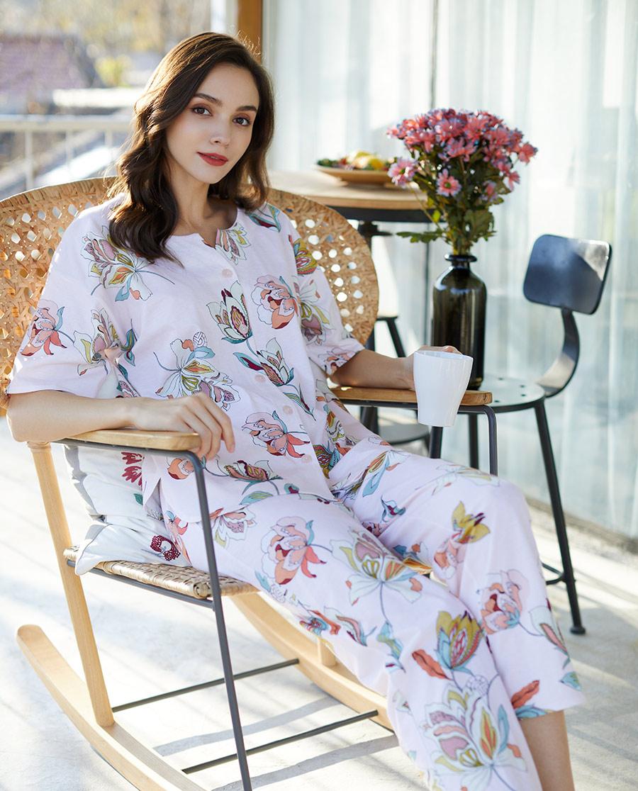 FERAUD睡衣 花园漫步系列短袖分身睡衣