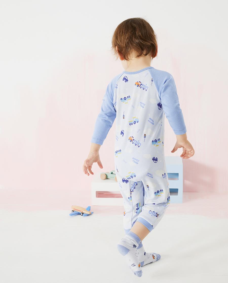 Aimer Baby保暖|爱慕婴儿快乐火车男婴幼长袖连体爬服AB2