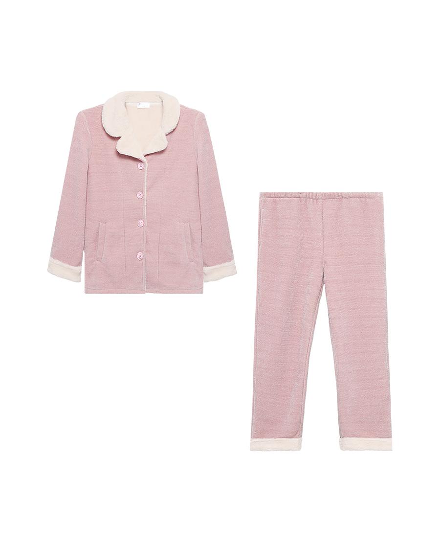 Aimer Basic睡衣|爱慕温暖精灵翻领开襟长袖长裤套装AM46