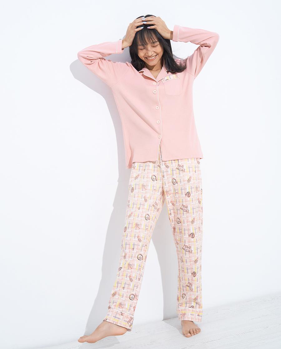 IMIS睡衣|爱美丽欢乐格子翻领开衫长袖上衣长裤套装I