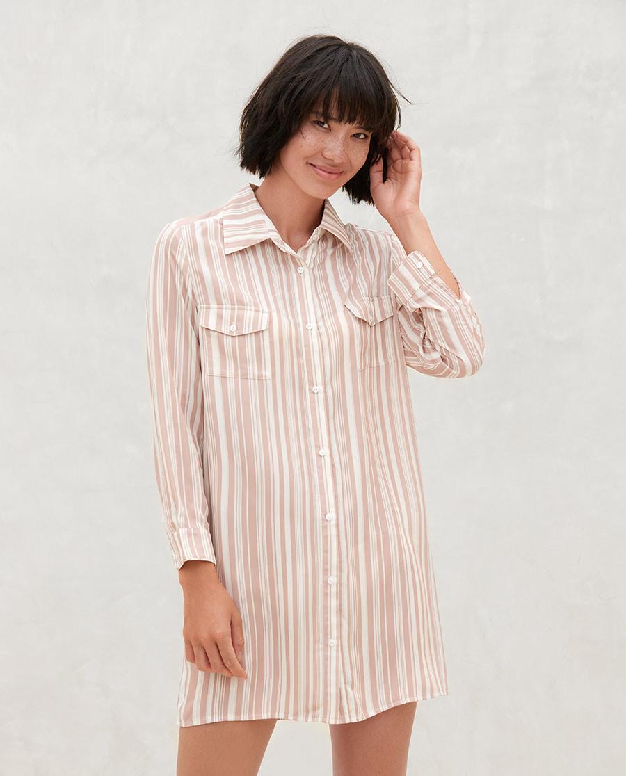 Aimer Basic睡衣|爱慕在线-条纹随想长袖衬衫裙AM4448