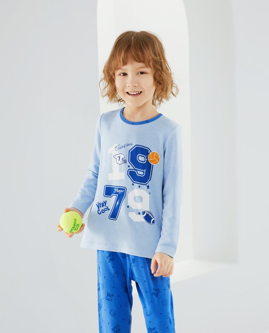 爱慕儿童全能球手男孩套头长袖睡衣AK2413851
