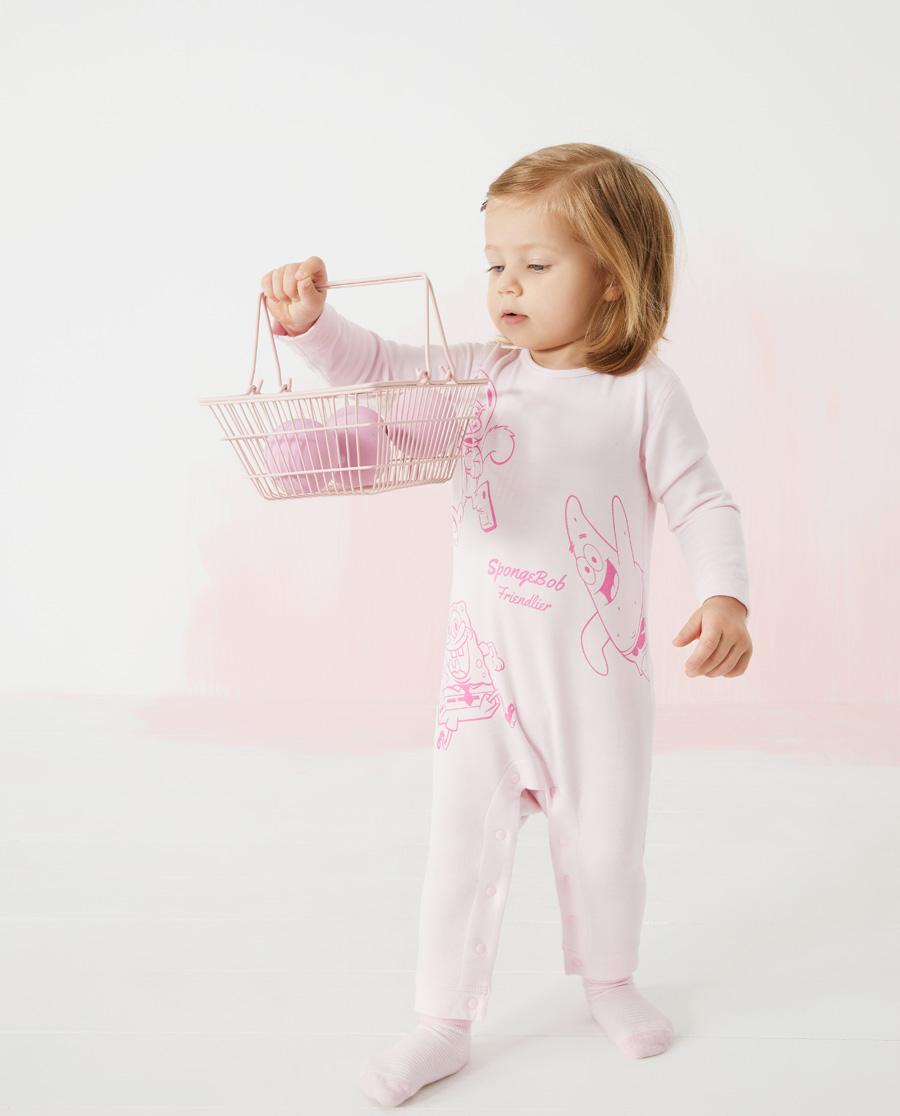 Aimer Baby保暖|爱慕婴儿海绵宝宝的朋友们女婴幼长袖连体爬