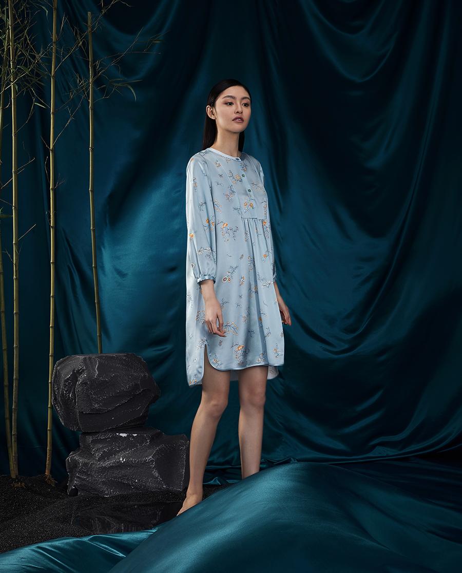 EMPERORIENT睡衣|皇锦衬衫式中长款睡裙HJ21290