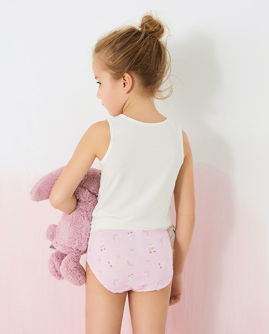 Aimer Kids内裤|爱慕儿童天使小裤棉氨纶印花女孩彩虹羊驼中