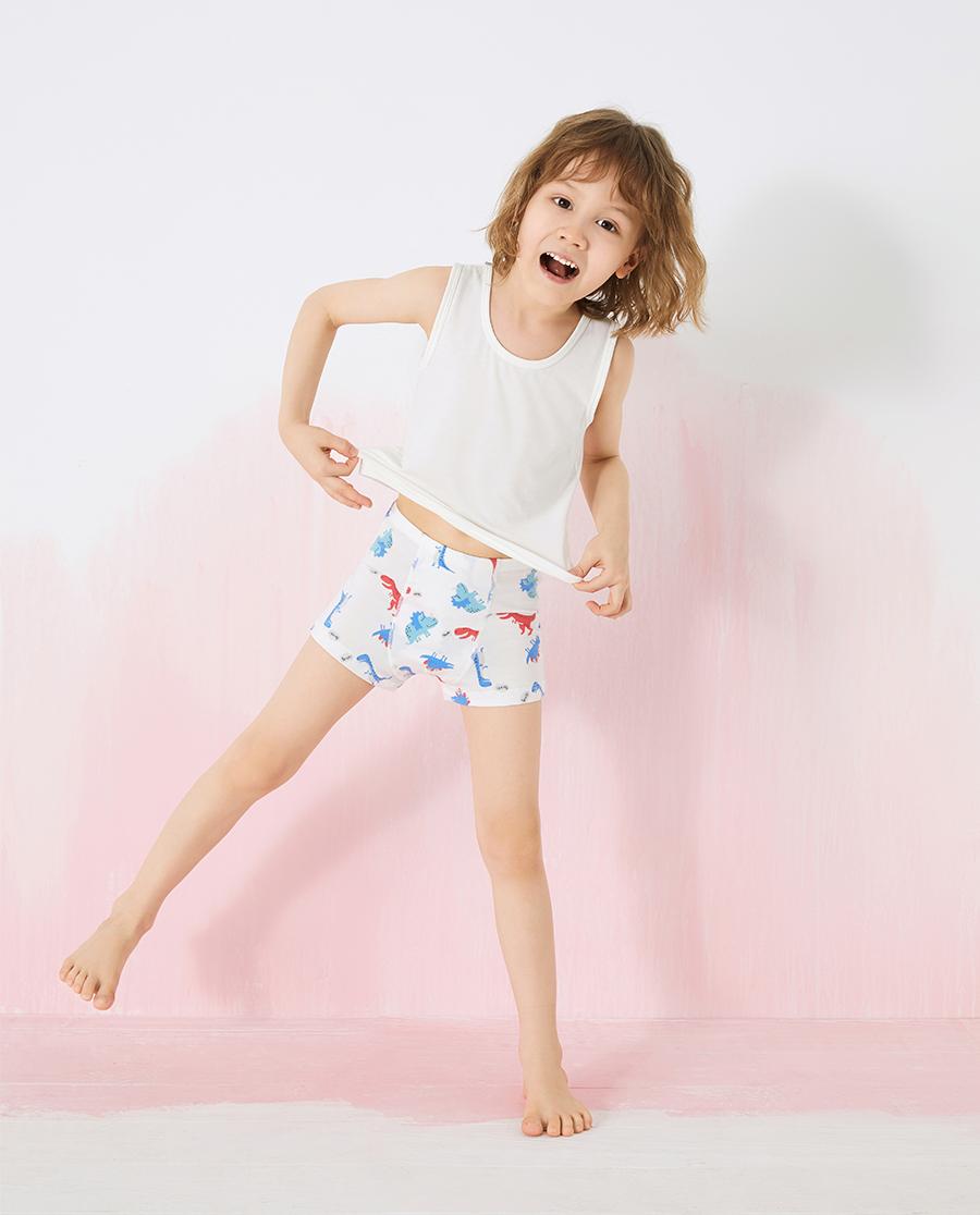 Aimer Kids内裤|爱慕儿童天使小裤棉氨纶印花男孩恐龙中腰平