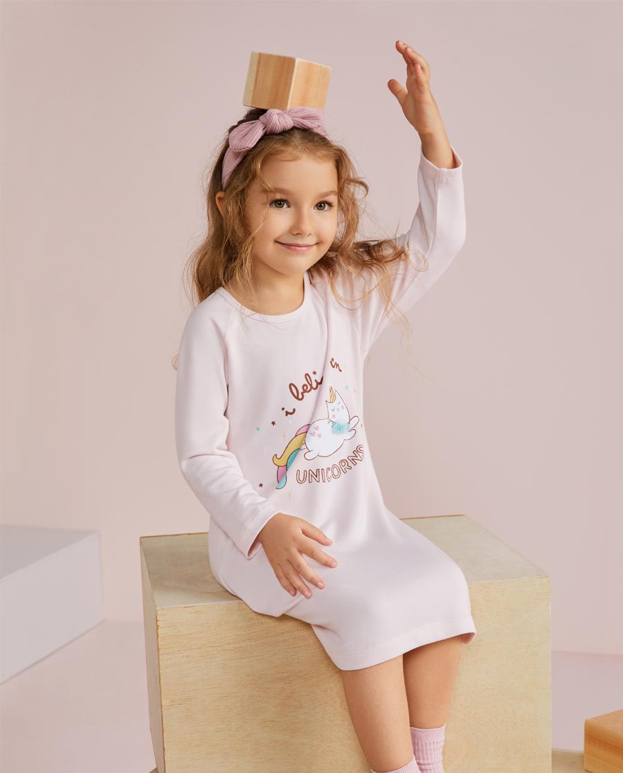 爱慕儿童彩虹猫女孩长袖睡裙AK1443731