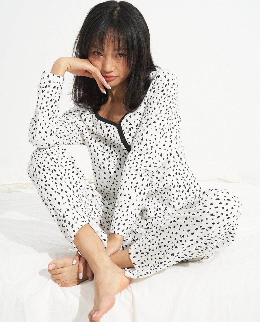 IMIS睡衣| IMIS清新棉感V领长袖上衣长裤套装I