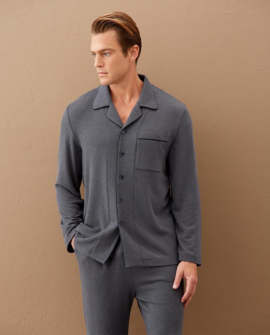 Aimer Men睡衣|爱慕先生20AW亲肤暖绒家居翻领开衫长袖