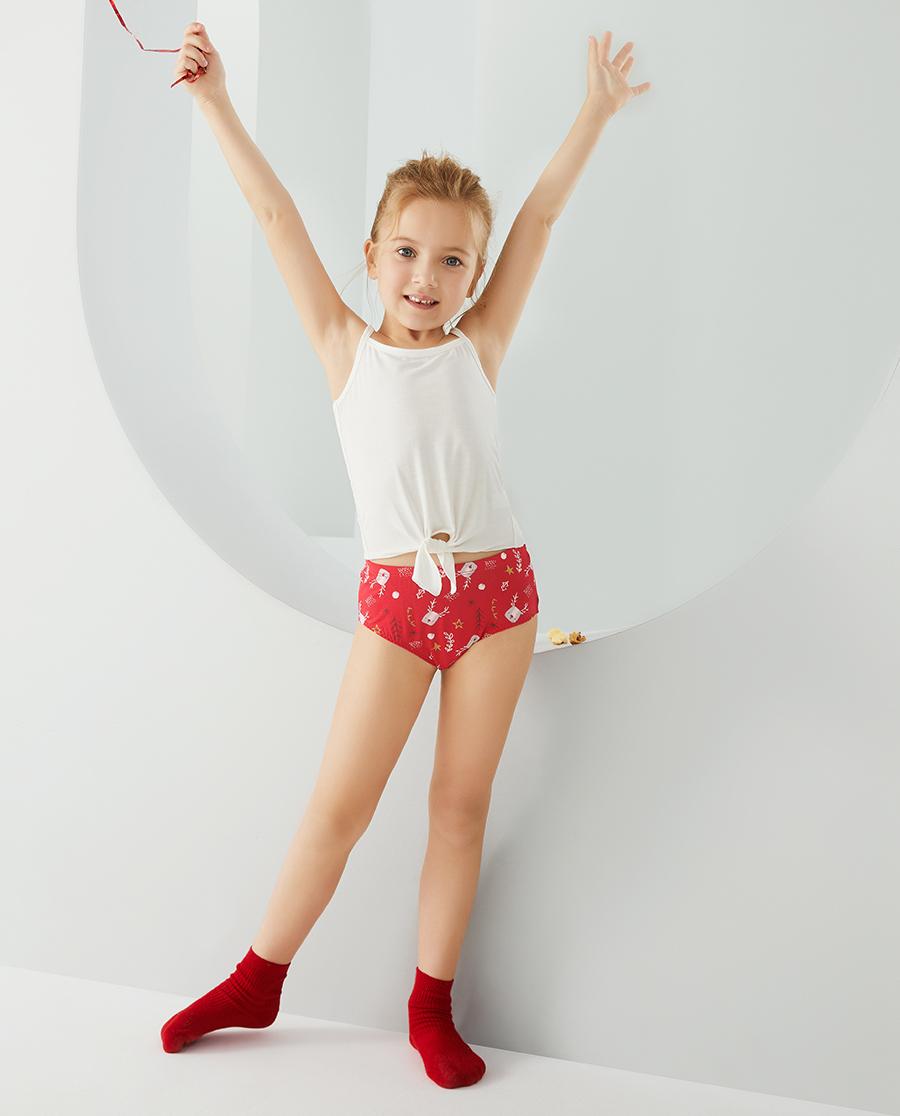 Aimer Kids内裤|爱慕儿童天使小裤MODAL印花女孩快乐小鹿中腰三角裤AK1224097