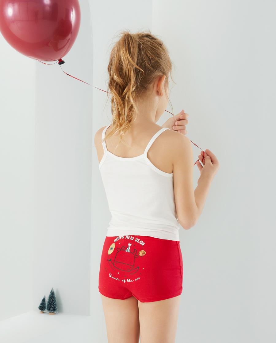 Aimer Kids内裤|爱慕儿童天使小裤MODAL印花女孩小牛哞