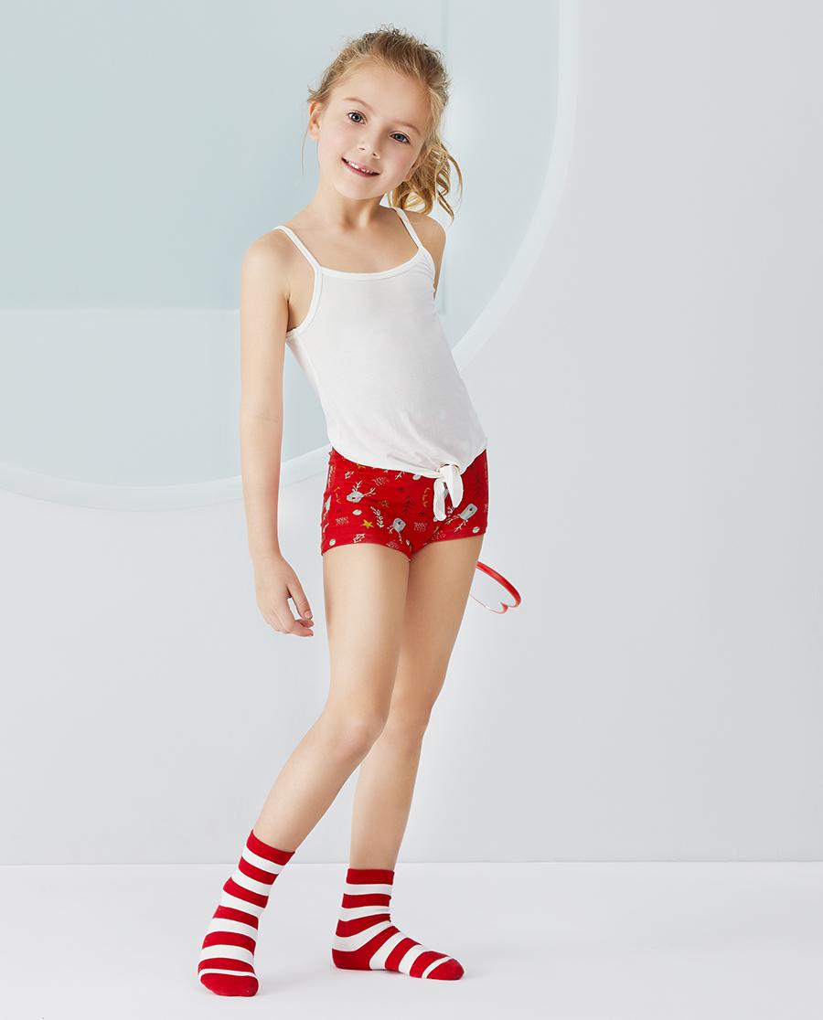 Aimer Kids内裤|爱慕儿童天使小裤MODAL印花女孩快乐小