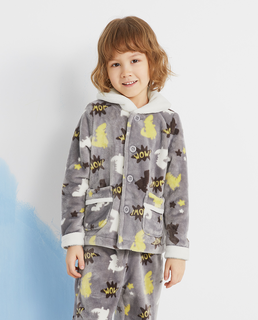 Aimer Kids睡衣|爱慕儿童恐龙地带男孩开衫长袖家居AK24