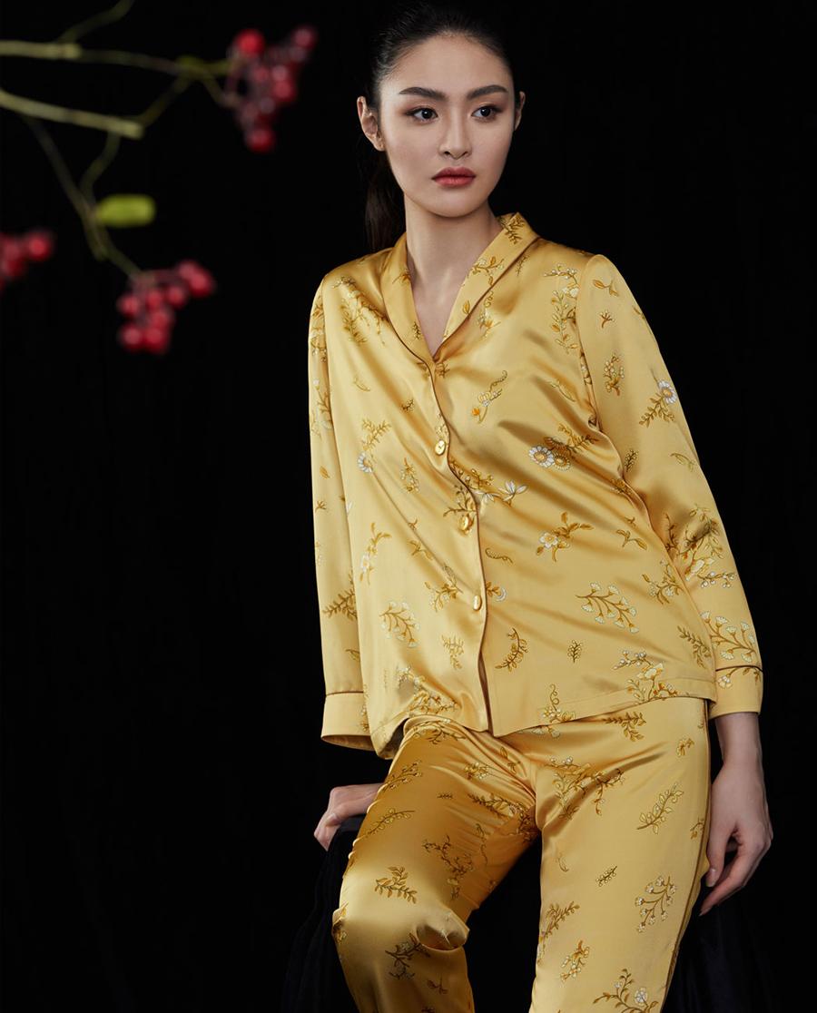 EMPERORIENT睡衣|皇锦香蕉领分身套装HJ21296
