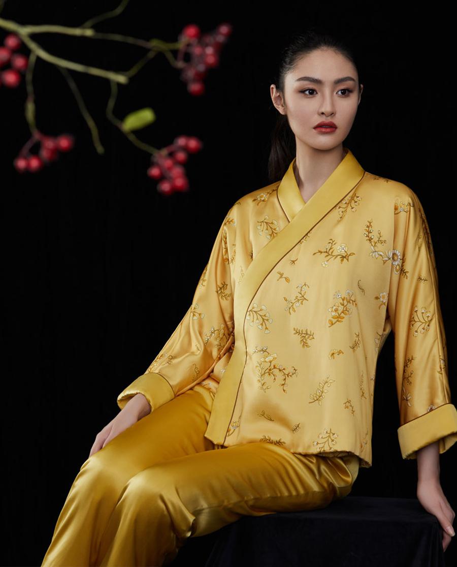 EMPERORIENT睡衣|皇锦拼接汉服款棉分身HJ21301