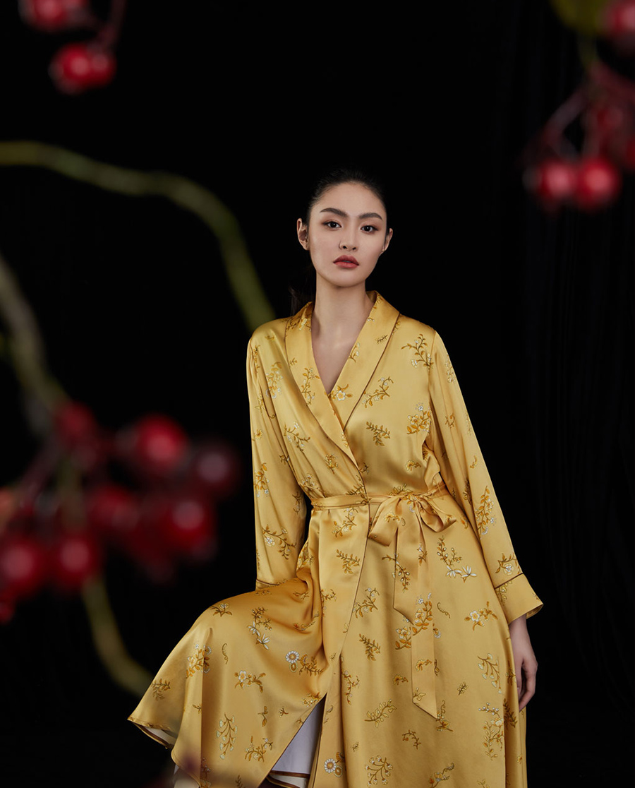 EMPERORIENT睡衣|皇锦真丝睡袍HJ21302