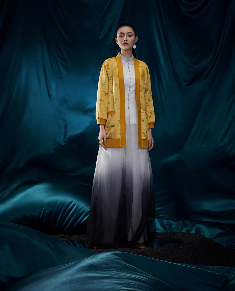 EMPERORIENT睡衣|皇锦印花夹棉螺纹边棉袍HJ21300
