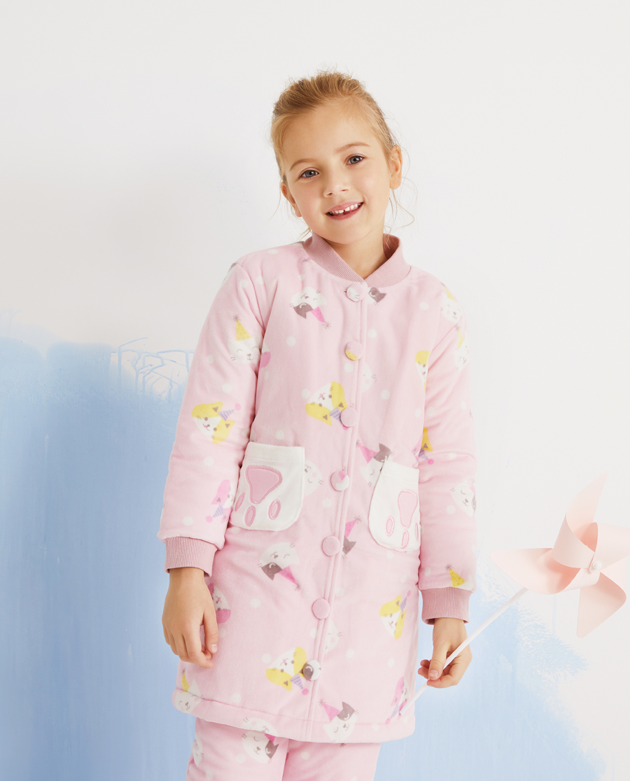 Aimer Kids睡衣|爱慕儿童猫咪乐园女孩家居袍AK14439