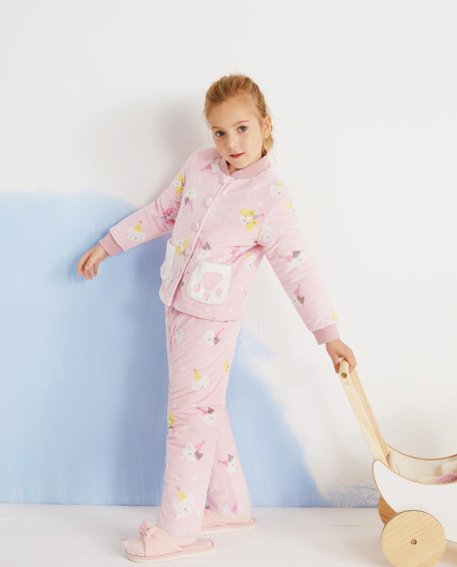 Aimer Kids睡衣 爱慕儿童猫咪乐园女孩家居长裤AK1423