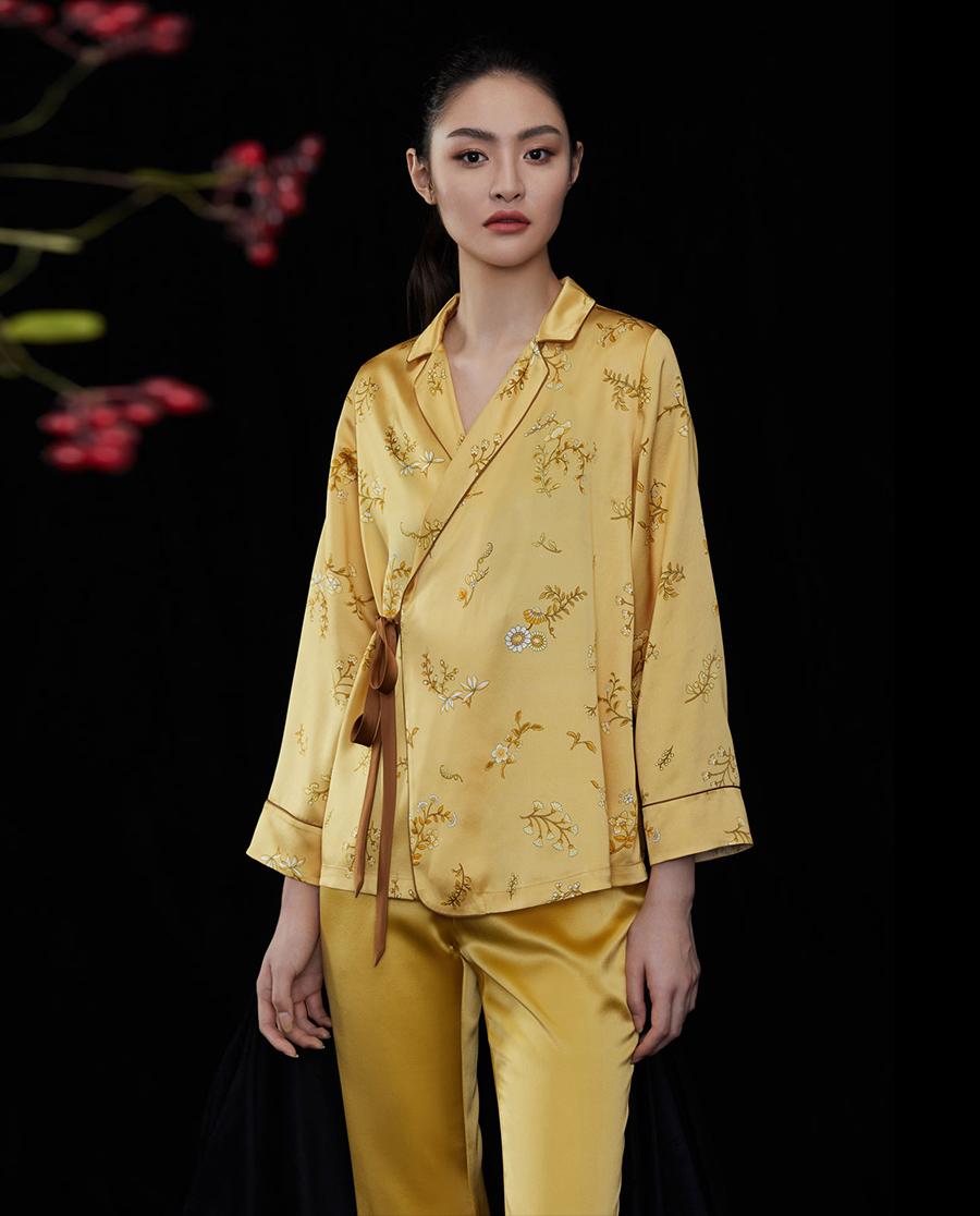 EMPERORIENT睡衣|皇锦翻领斜襟套装HJ21297