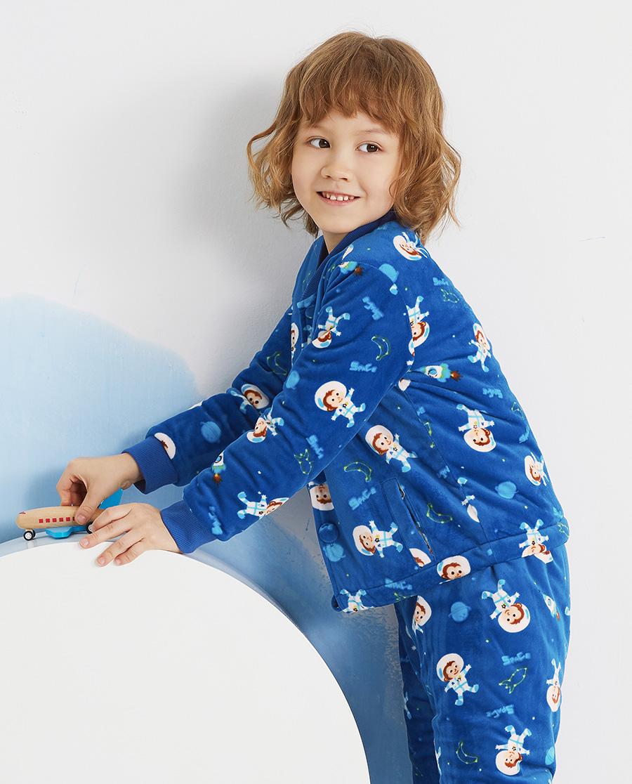Aimer Kids睡衣|爱慕儿童太空小猴男孩开衫长袖家居AK24