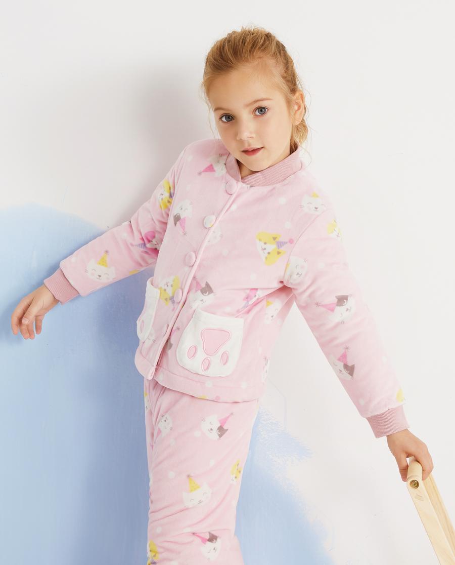 Aimer Kids睡衣|爱慕儿童猫咪乐园女孩开衫长袖家居AK14