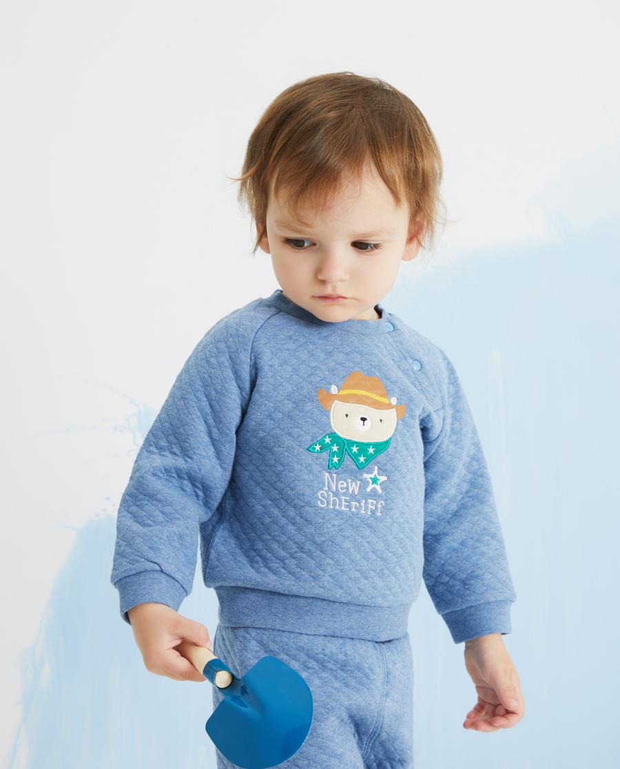 Aimer Baby睡衣|爱慕婴儿牛仔小熊男婴幼长袖上衣AB241