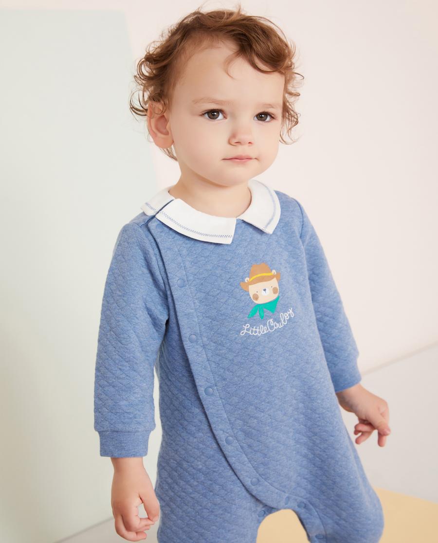 Aimer Baby睡衣|爱慕婴儿牛仔小熊男婴幼长袖连体爬服AB2