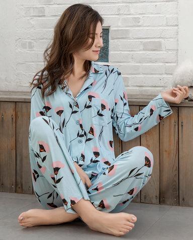 Aimer睡衣| 爱慕蜜语缇香长袖翻领家居套装AM465352