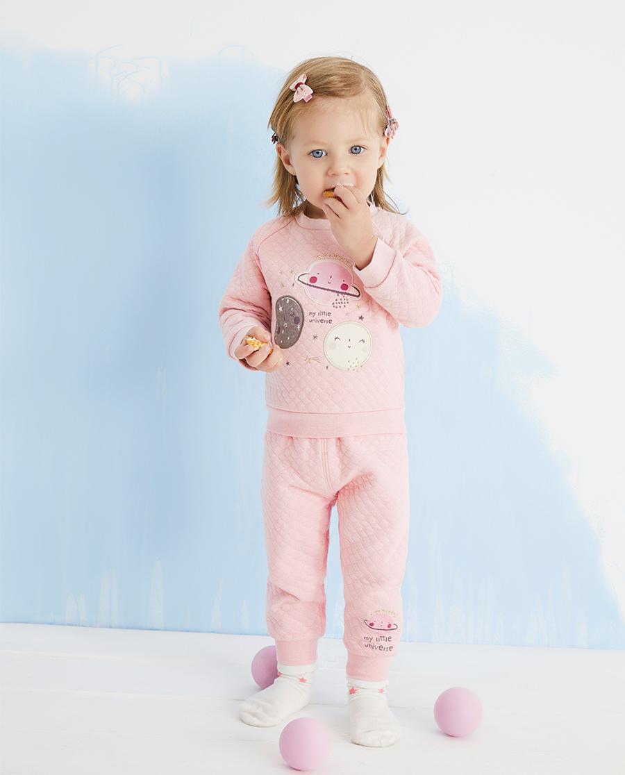 Aimer Baby睡衣|爱慕婴儿可爱星球女婴幼两用裆长裤AB14
