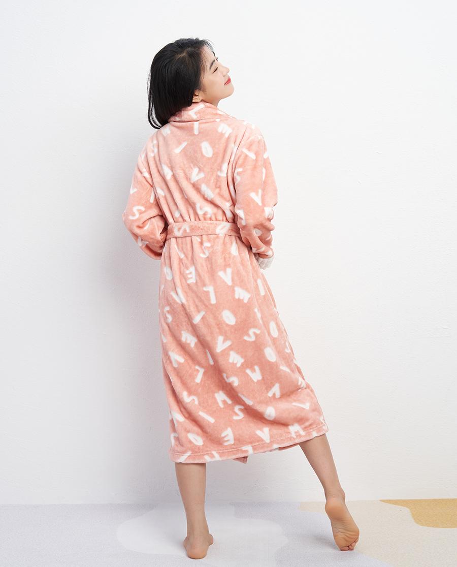 IMIS睡衣 IMIS时尚割绒翻领开衫长袖睡袍IM48