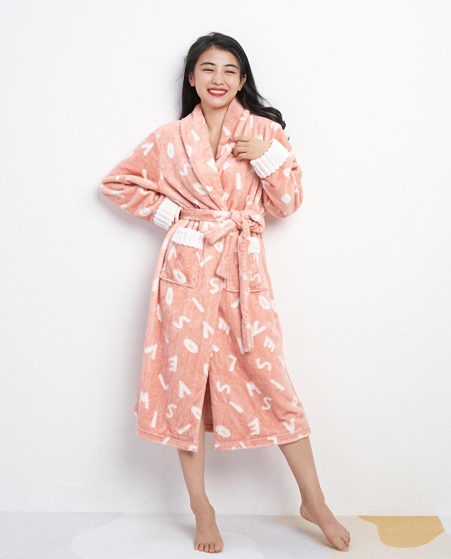 IMIS睡衣|IMIS时尚割绒翻领开衫长袖睡袍IM48BAJ1