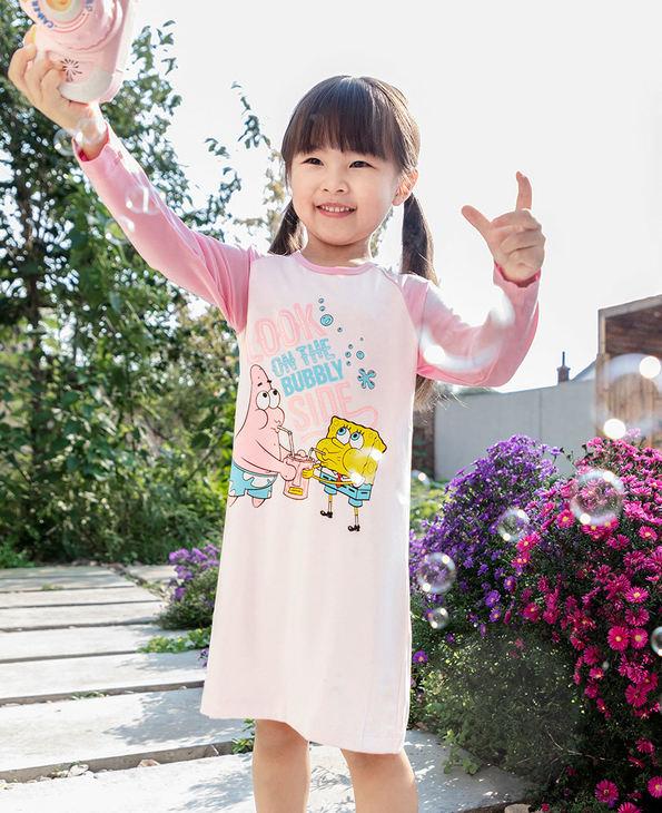 Aimer Kids睡衣 爱慕儿童海绵宝宝吹泡泡女孩长袖睡裙AK1443881