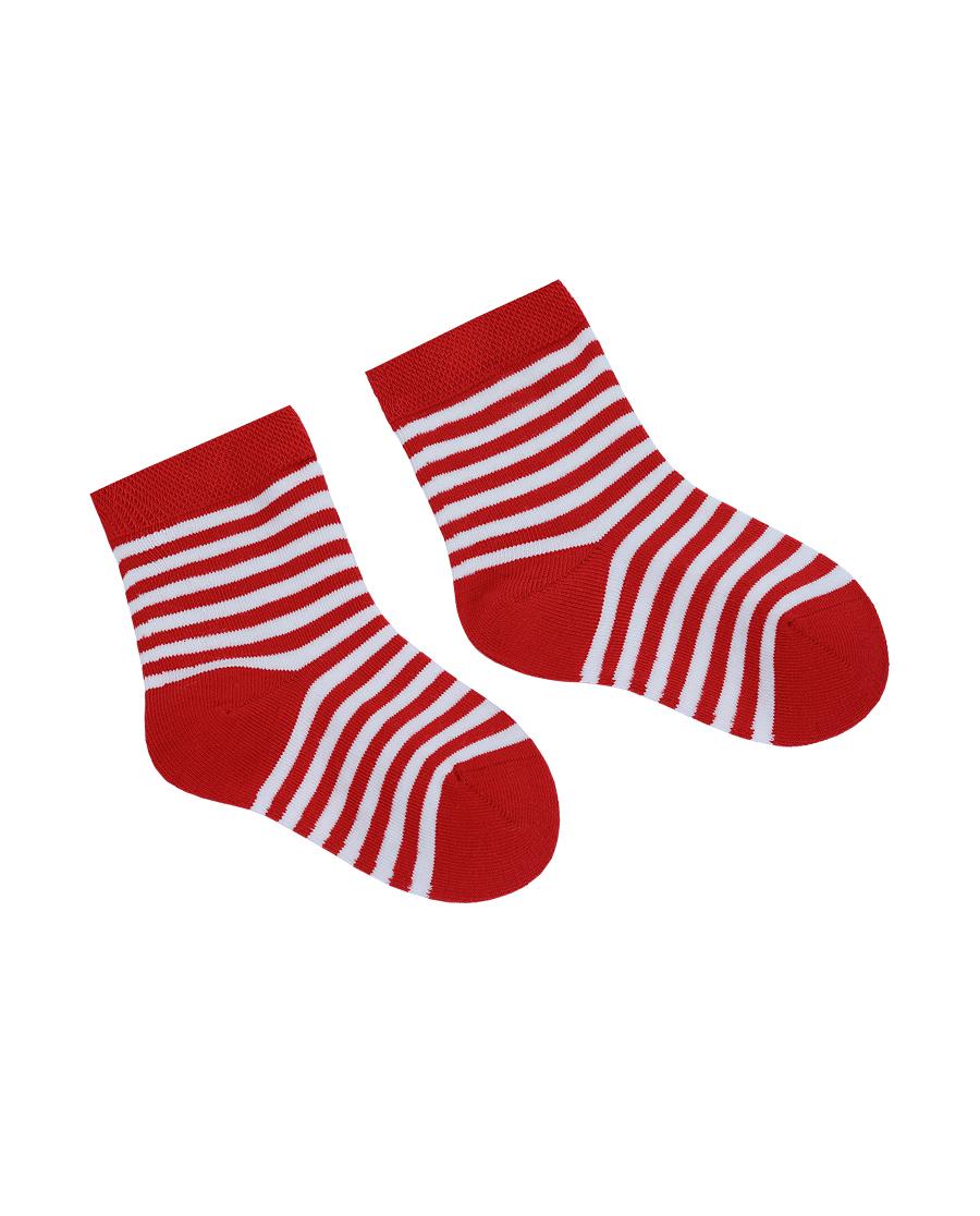 Aimer Baby袜子|爱慕婴儿袜子中性婴幼红白条童袜AB3944571