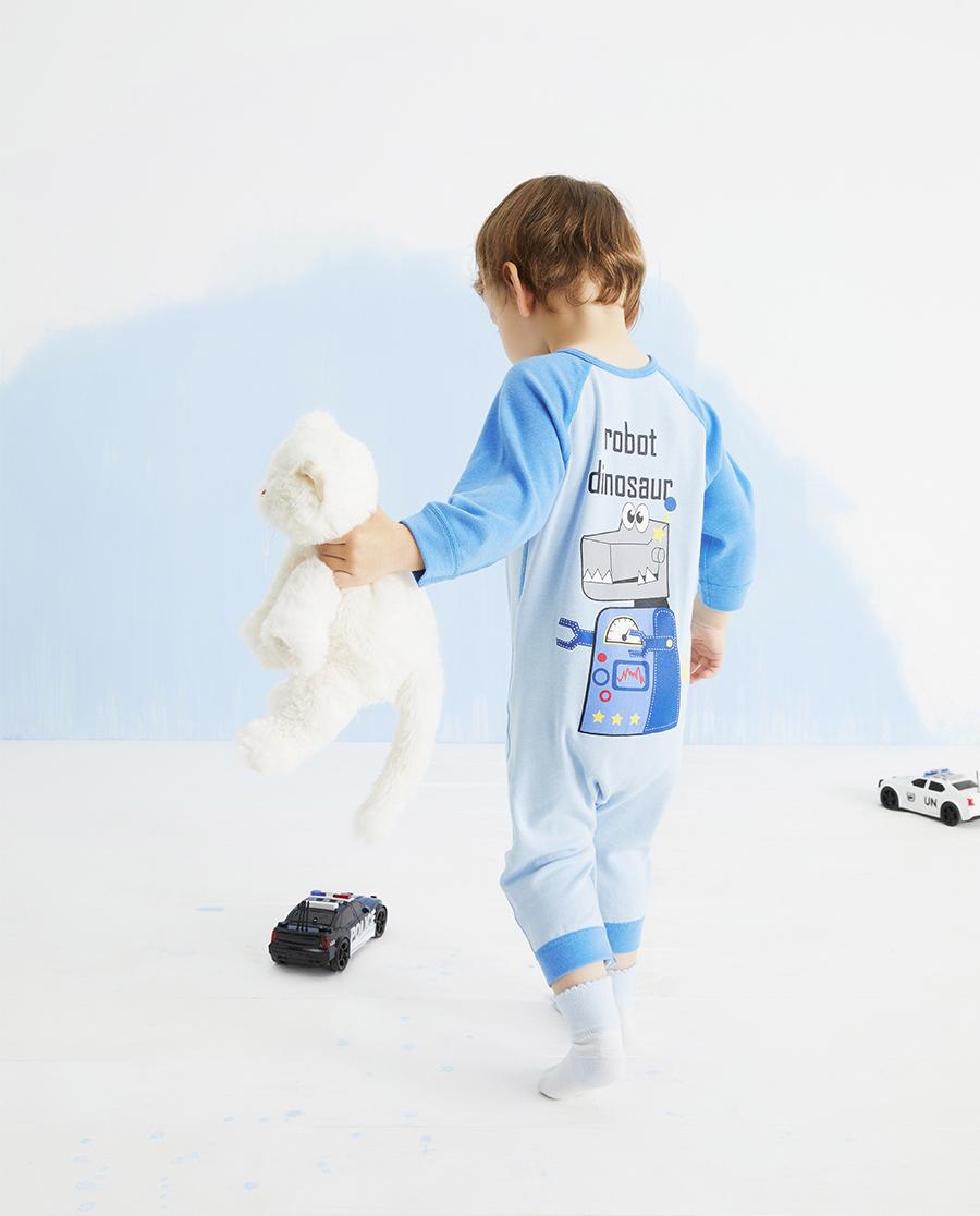 Aimer Baby保暖|爱慕婴儿暖阳新意男婴幼双层长袖连体爬服A
