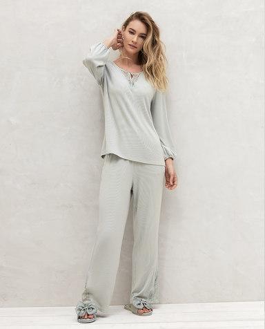 Aimer睡衣| 爱慕享眠九分袖长裤分身家居套装AM465321