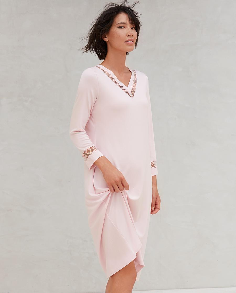Aimer睡衣|爱慕牛奶生活3九分袖中长连衣裙AM445