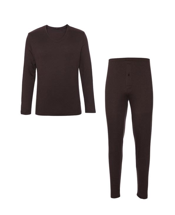 Aimer Men保暖 爱慕先生20AW智选羊毛暖衣套装在线特供单层V领长袖+单层长裤NS74E691