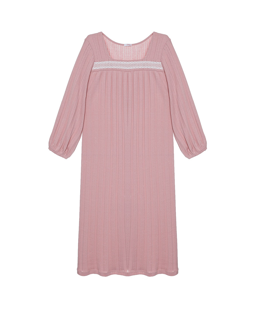 Aimer Basic睡衣|爱慕纯享生活七分袖长睡裙AM445922