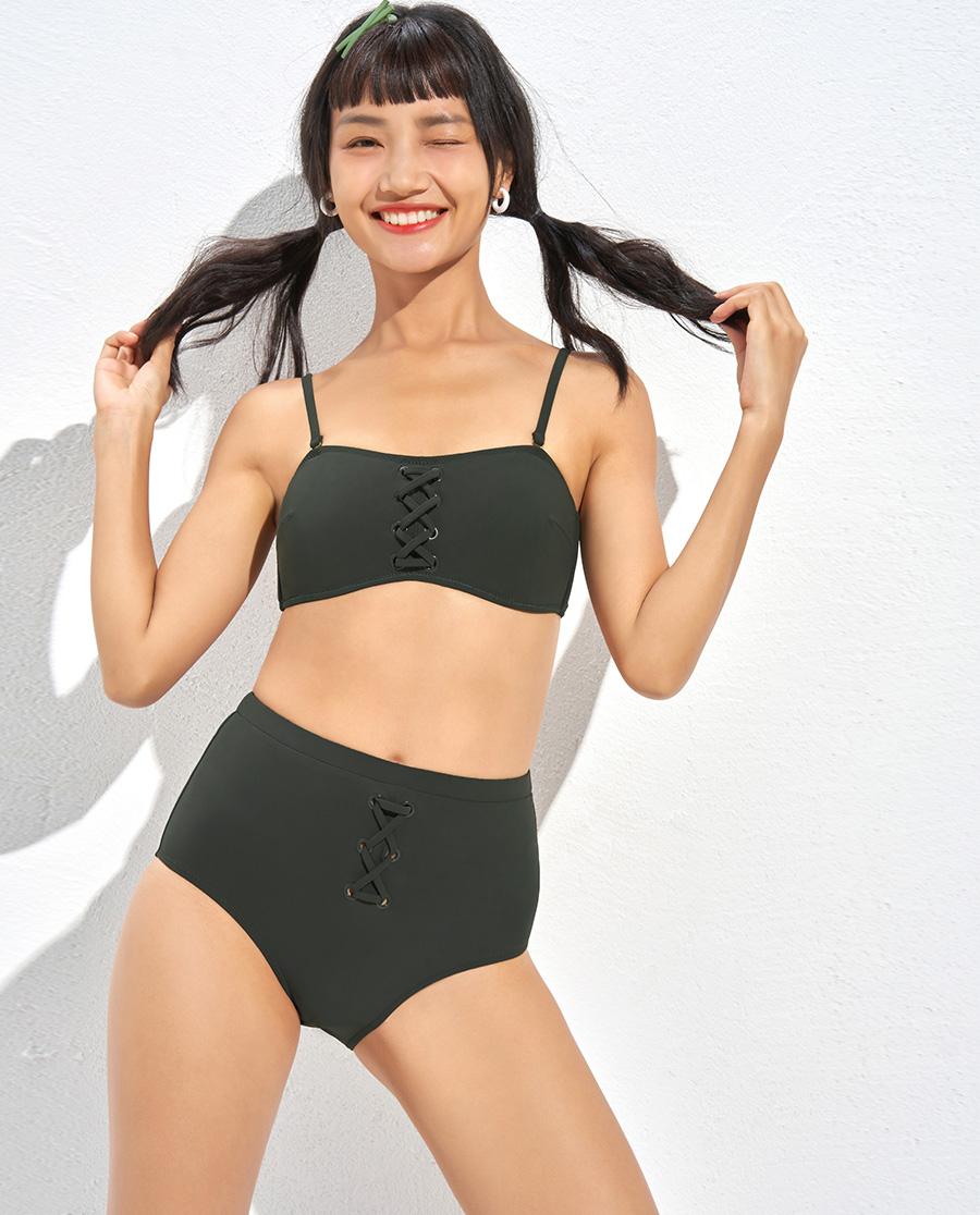 IMIS泳衣|IMIS泳衣冒险丛林无托分身高腰两件套泳