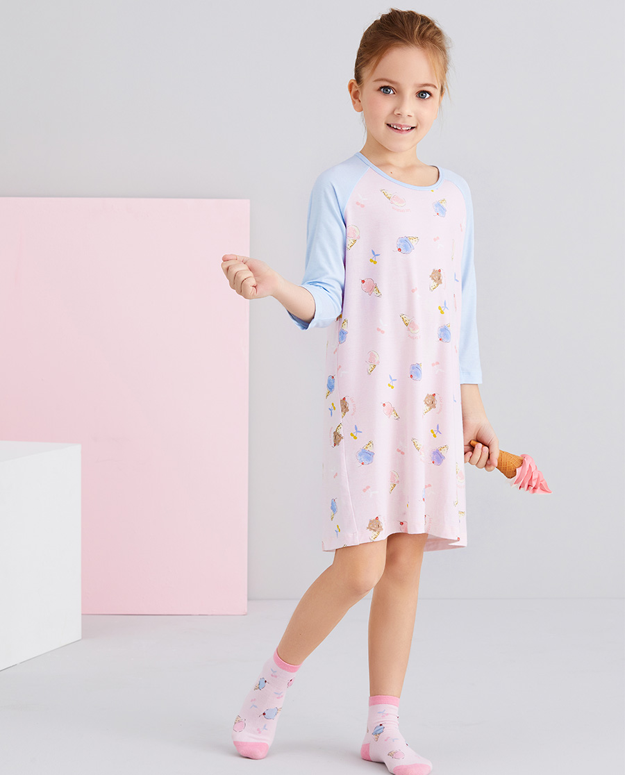 Aimer Kids睡衣|爱慕儿童樱桃冰淇淋女孩七分袖睡裙AK1445101