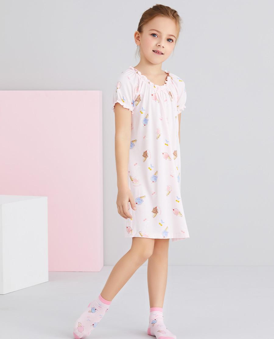 Aimer Kids睡衣|爱慕儿童樱桃冰淇淋女孩短袖睡裙AK1445102