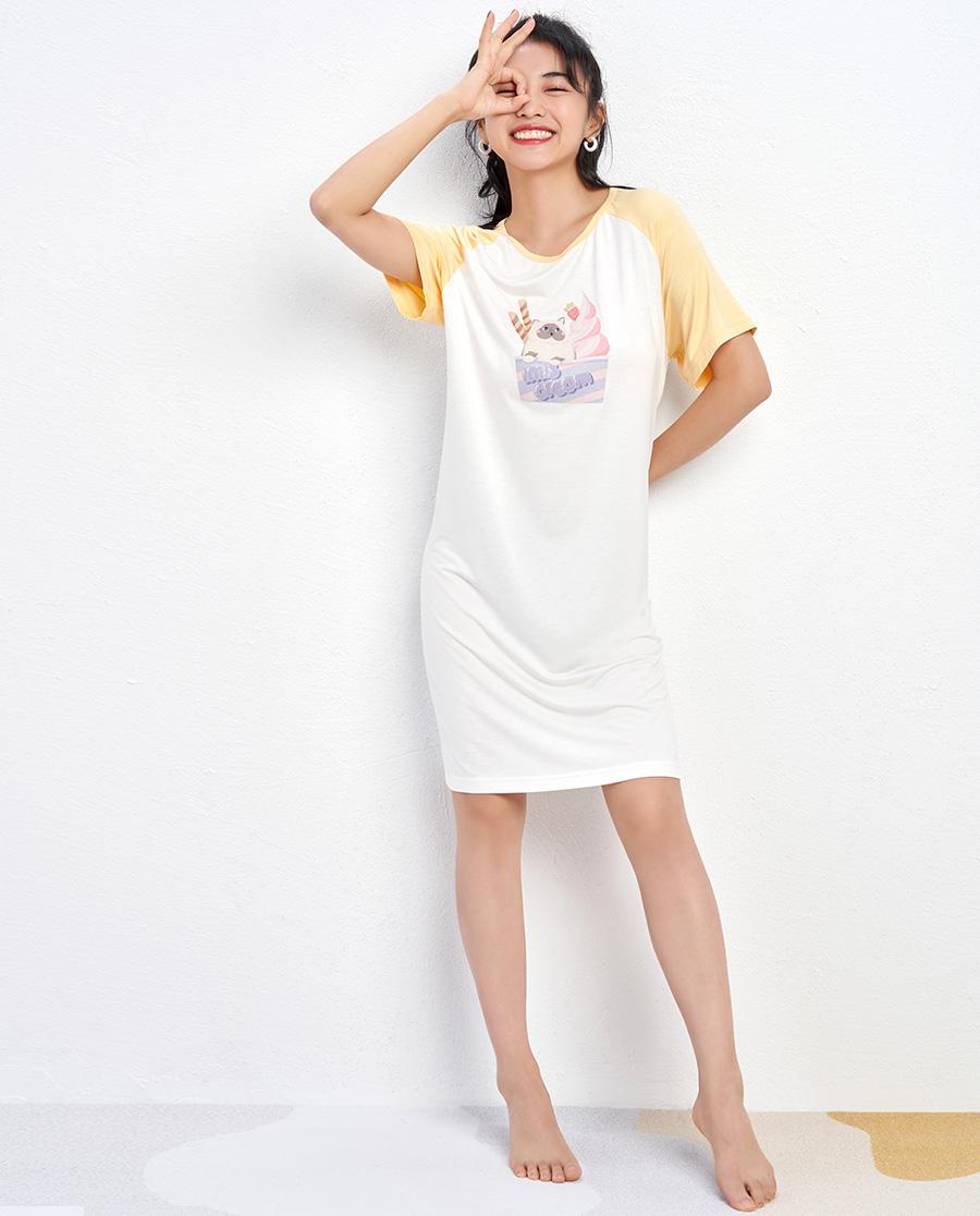 IMIS睡衣|爱美丽猫爱冰激凌莫代尔圆领短袖套头睡裙IM44BCA1
