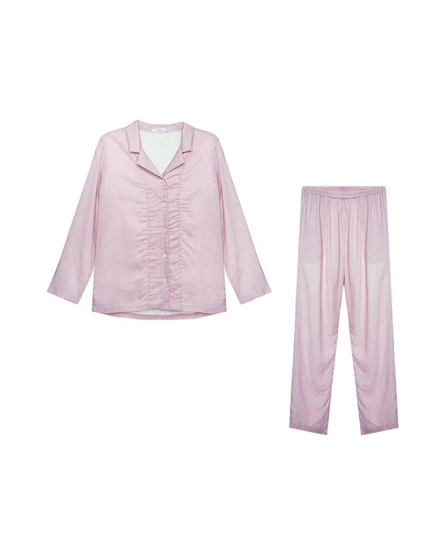 Aimer Basic睡衣|爱慕在线-条色板女士长袖长裤分身套装AM