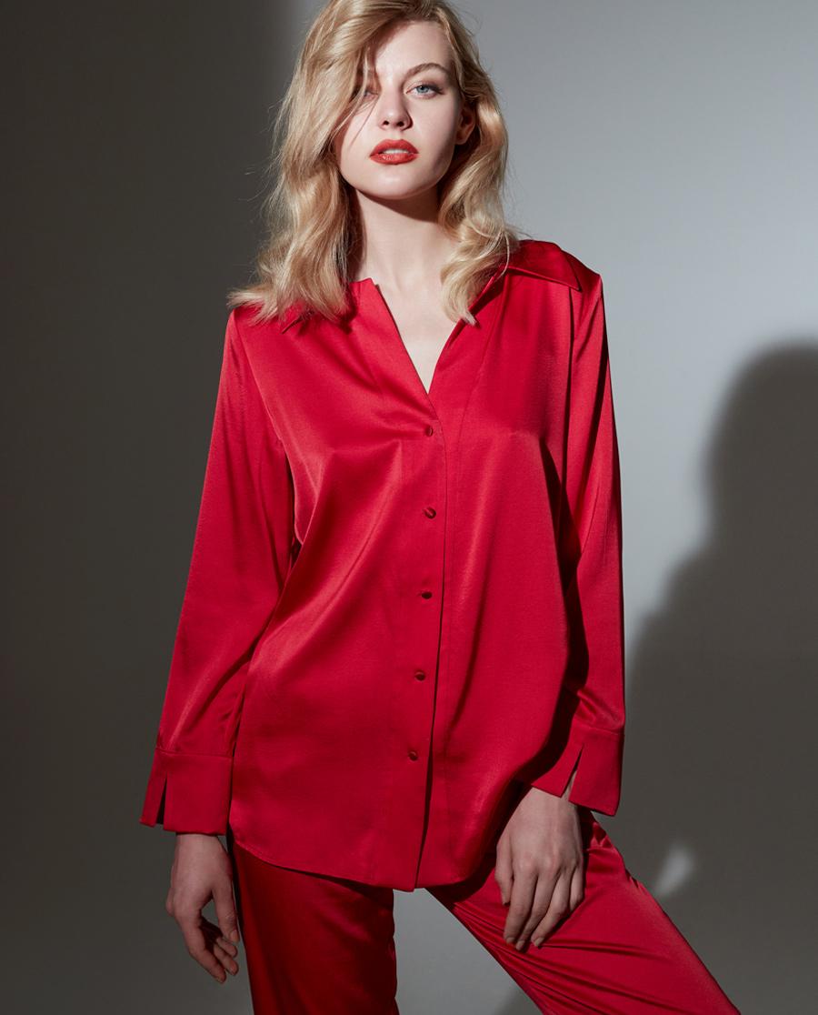 La Clover睡衣 兰卡文挚爱red系列真丝睡衣套装LC46