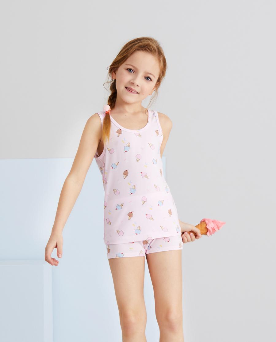 Aimer Kids睡衣|爱慕儿童天使背心modal印花樱桃冰淇淋背心AK1114981