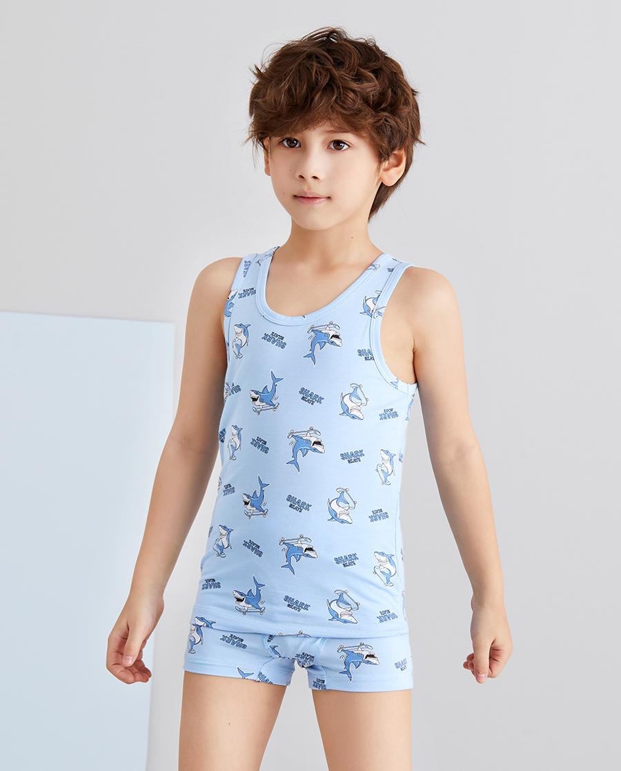 Aimer Kids睡衣|爱慕儿童天使背心modal印花滑板鲨鱼满印跨栏背心AK2114981