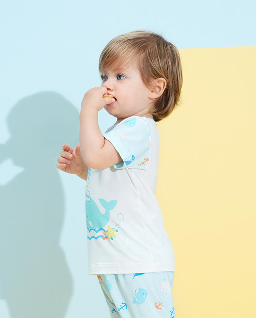 Aimer Baby睡衣|爱慕婴儿趣味海洋男婴幼套头短袖睡衣AB2