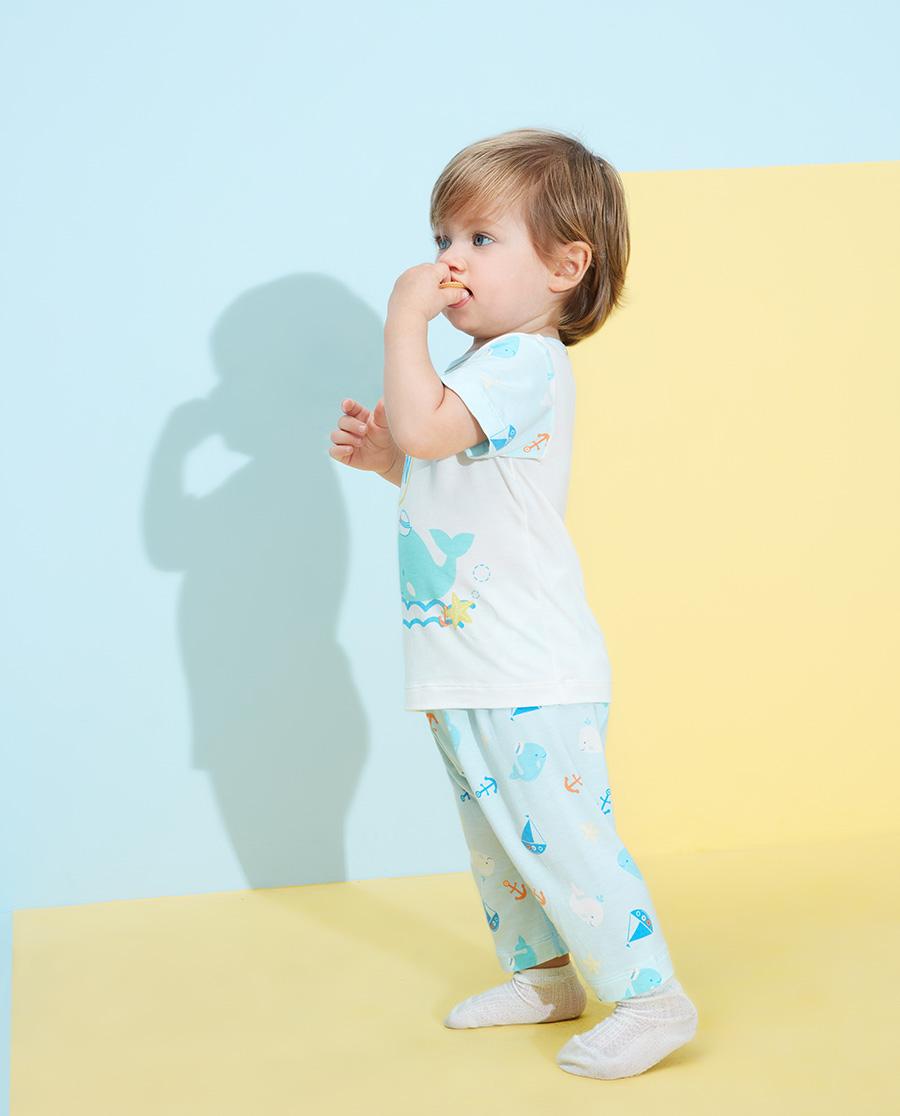 Aimer Baby睡衣|爱慕婴儿趣味海洋男婴幼七分大屁屁睡裤AB