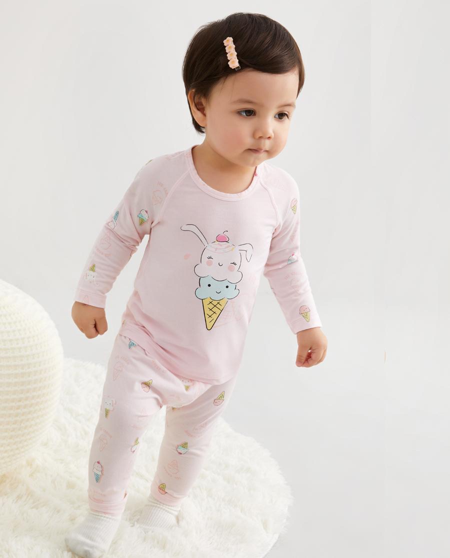 Aimer Baby睡衣|爱慕婴儿小兔冰淇淋女婴幼大屁屁睡裤AB1424701